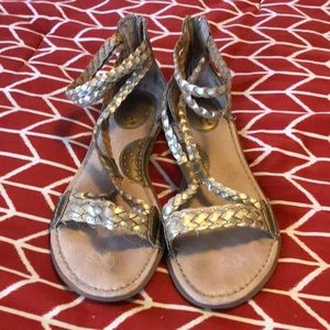 Gold Ankle Strap Sandals boc Size 8